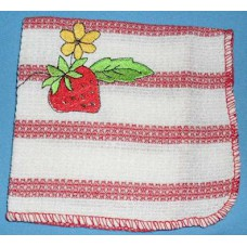 Product: Kitchen>Linen - Washcloth (Strawberry and little yellow flower)