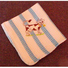 Product: Kitchen>Linen - Washcloth (Cow chewing flower)
