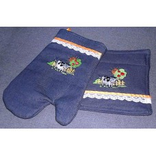 Product: Kitchen>Linen - Oven glove and cloth (Pair) (Apple tree and cow)