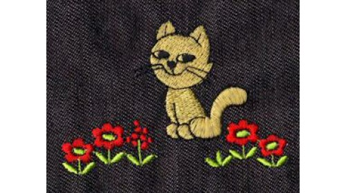 Cat and red flowers